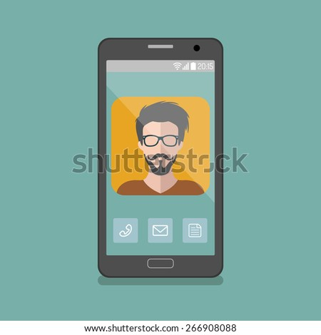 Vector illustration of hipster man app icon on smartphone display in flat style - stock vector