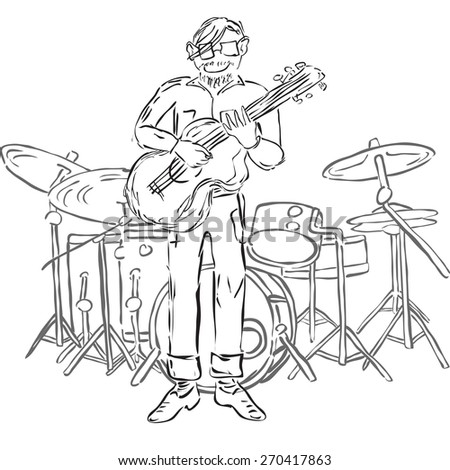 Vector Illustration of hipster playing guitar and with drum set on background. Monochrome.