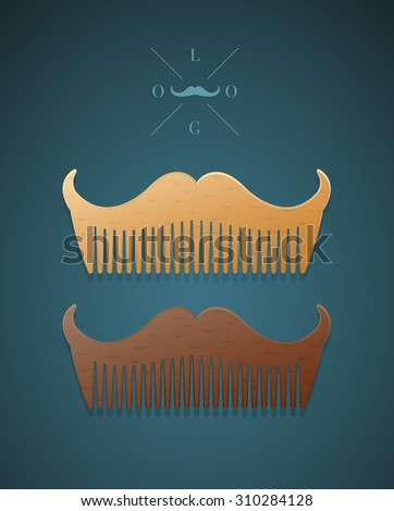 Vector illustration of hipster style comb in shape of mustaches  - stock vector