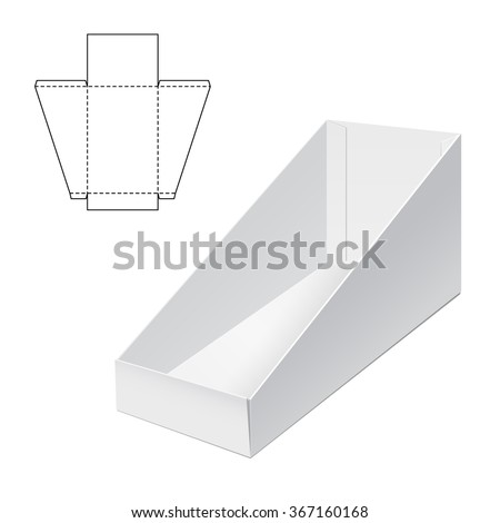 Vector Illustration of Holder Die Cut craft Box for Design, Website, Background, Banner. Folding package Blank Displays Template. Empty Fold pack with die line for your brand on it - stock vector
