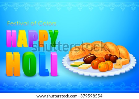 vector illustration of Holi celebration background with assorted sweets - stock vector