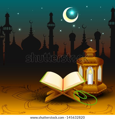 vector illustration of holy book of Quran with lamp on Eid Mubarak ( Blessing for Eid) background - stock vector
