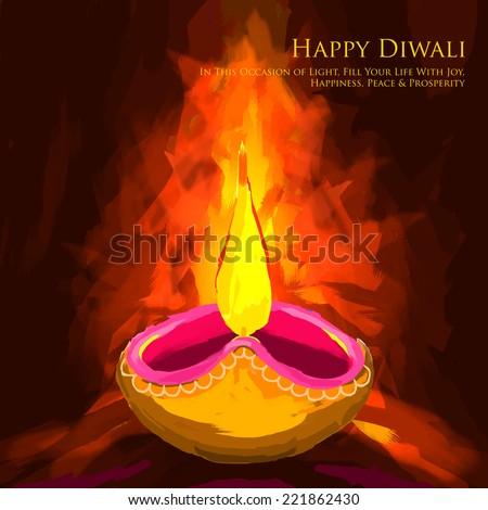 vector illustration of holy diya for Diwali festival - stock vector