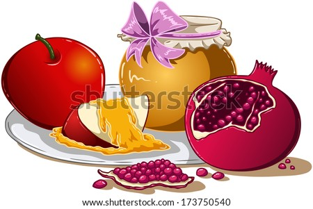 Vector illustration of honey apple and pomegranate on a plate for Rosh Hashanah the Jewish new year.  - stock vector