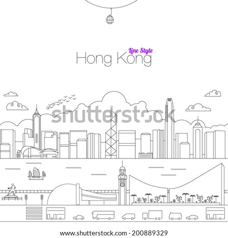 Vector Illustration Of Hong Kong Line Style