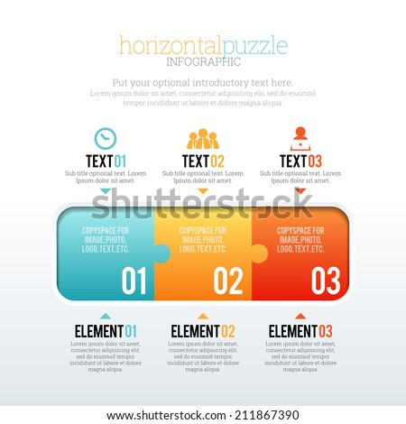 Vector illustration of horizontal puzzle infographic elements. - stock vector