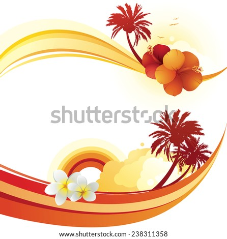 Vector illustration of 2 horizontal tropical summer wave banners. - stock vector