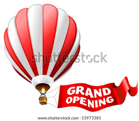 """vector illustration of hot air balloon with red sign """"grand opening"""" - stock vector"""