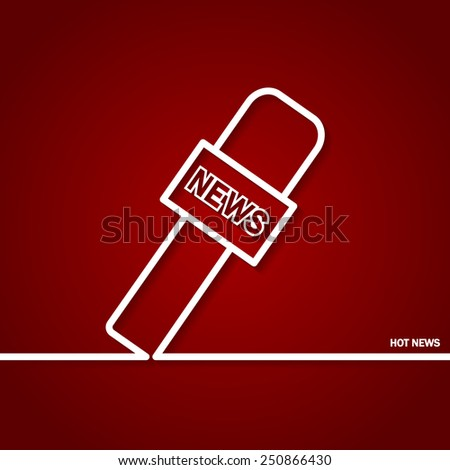 Vector Illustration of Hot News Outline for Design, Website, Background, Banner. Silhouette Microphone Element Template for Journalism Logo - stock vector