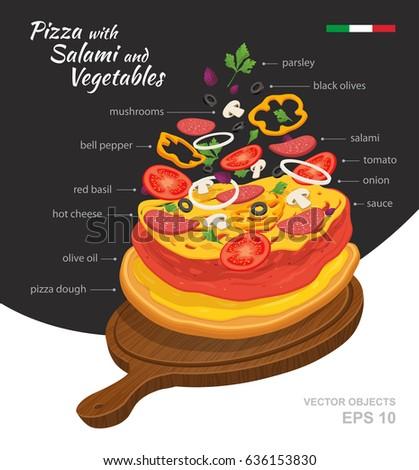 Vector Illustration Hot Salami Pizza Vegetables Stock Vector 2018
