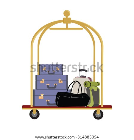 Vector illustration of hotel luggage cart with luggage, briefcase, backpack and bag. Luggage trolley - stock vector
