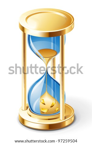 Vector illustration of hourglass on white background.