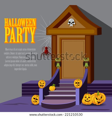vector illustration of house decoration with pumpkin for Halloween night - stock vector