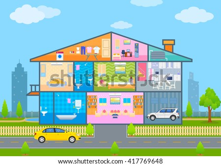 vector illustration of House in cut view with detailed interior and furniture - stock vector