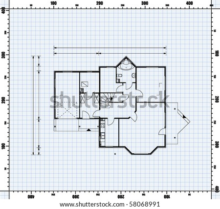 Vector illustration house project house blueprint stock vector vector illustration of house project house blueprint malvernweather Choice Image