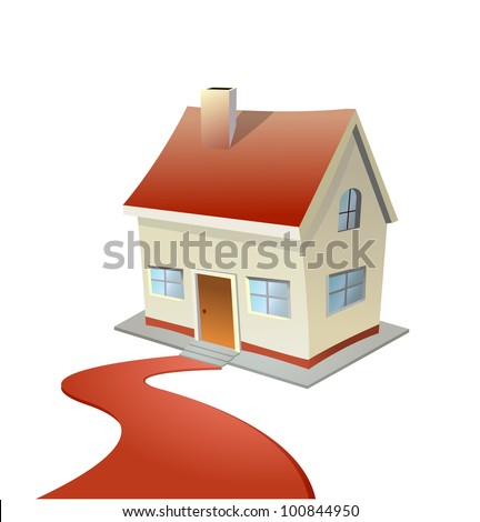 Vector illustration of house with red carpet road - stock vector
