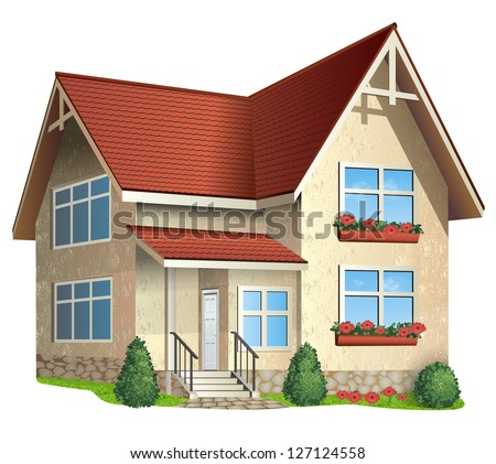 Vector Illustration of ��° house  with tile roof on a white background - stock vector