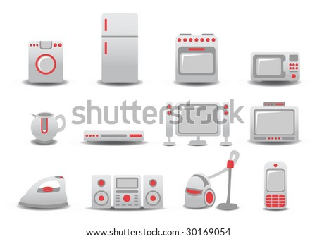 Vector illustration of Household Appliances icons. You can decorate your website, application or presentation with it. - stock vector