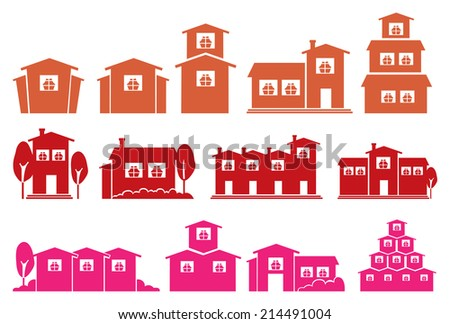 Vector illustration of houses and homes in different designs - stock vector
