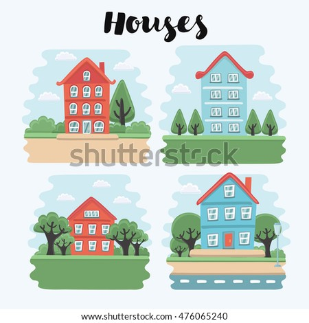 Vector illustration of houses and town landscape. Set of buildings