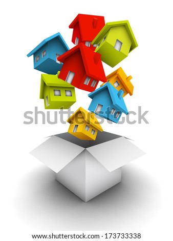 Vector illustration of houses as a gift.  - stock vector