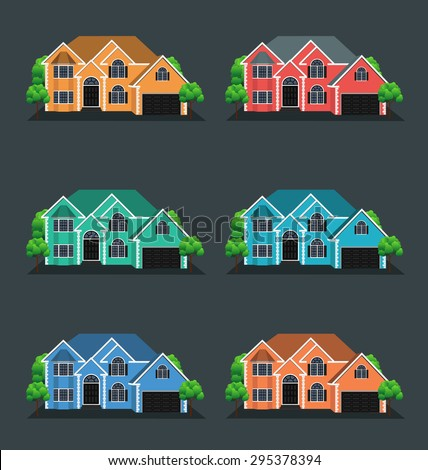 Vector illustration of houses, front view. - stock vector