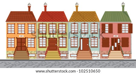 Vector illustration of houses in a row - stock vector
