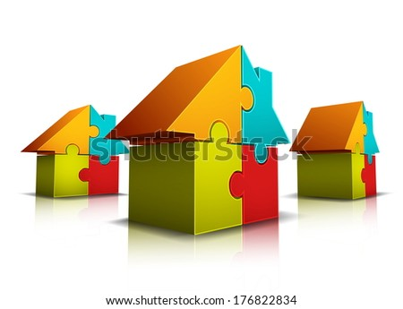 Vector illustration of houses made of puzzle.
