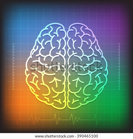 Vector Illustration of Human Brain Concept with Wave Diagram on  Colorful Background  - stock vector