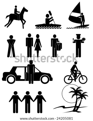 vector illustration of human figures and services symbols