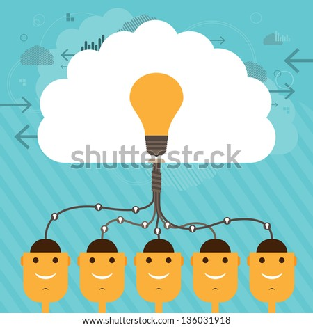 Vector illustration of human head figures connected to a collective large brain of idea. - stock vector