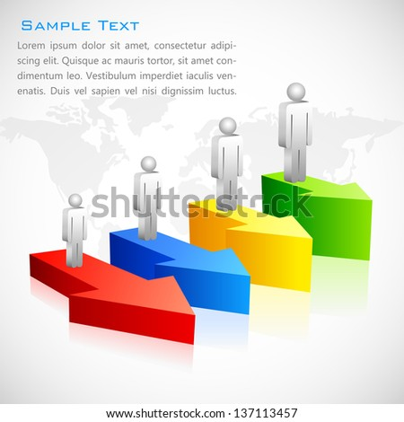 vector illustration of human icon on colorful arrow