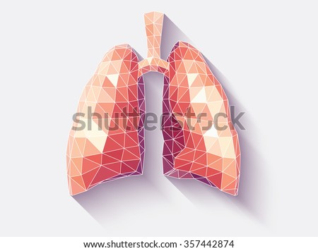 Vector illustration of human lungs with faceted low-poly geometry effect - stock vector