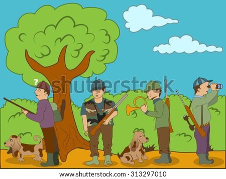 Vector illustration of hunters with their dogs. - stock vector