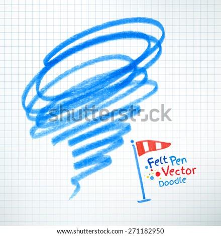 Vector illustration of hurricane. Felt pen childlike drawing on checkered notebook paper. - stock vector