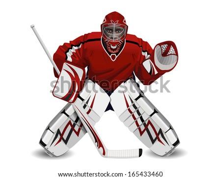 Vector illustration of ice hockey goalie see also logos of hockey fans in my portfolio - stock vector