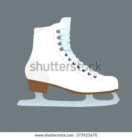 Vector illustration of ice skate on gray background. - stock vector