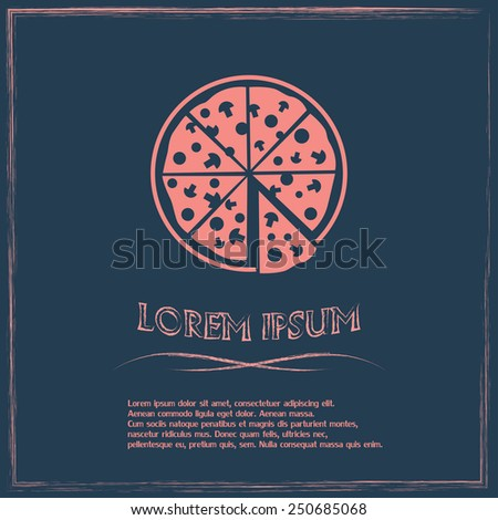 Vector illustration of icon for advertising pizza  - stock vector