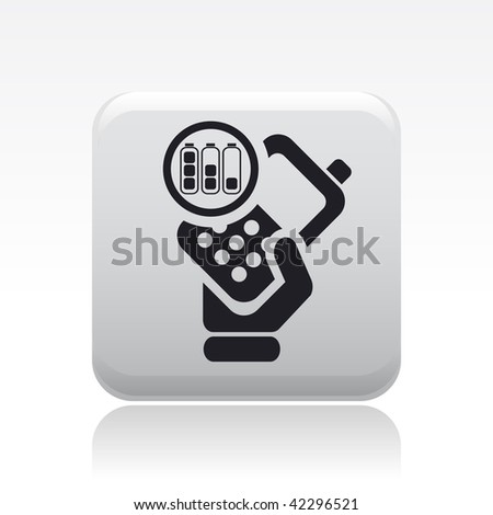 Vector illustration of icon isolated in a modern style, depicting a hand holding a mobile phone with the symbol of battery level autonomy