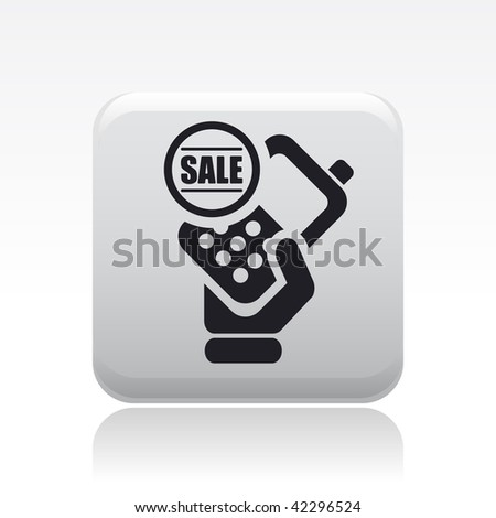 Vector illustration of icon isolated in a modern style, depicting a hand holding a mobile phone with the sale  symbol