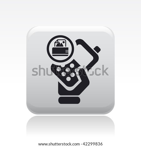 Vector illustration of icon isolated in a modern style, depicting a hand holding a mobile phone with the print symbol