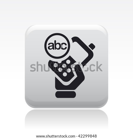 Vector illustration of icon isolated in a modern style, depicting a hand holding a mobile phone with the text  symbol