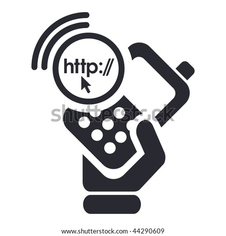 Vector illustration of icon isolated in a modern style, depicting a hand holding a mobile phone with the internet browse symbol - stock vector