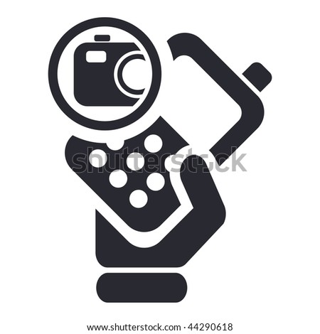 Vector illustration of icon isolated in a modern style, depicting a hand holding a mobile phone with the photo symbol - stock vector