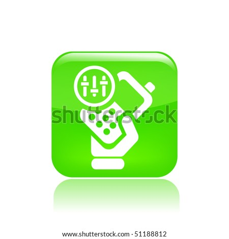 Vector illustration of icon isolated in a modern style, depicting a hand holding a mobile phone with the symbol of levels control