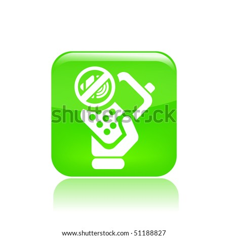 Vector illustration of icon isolated in a modern style, depicting a hand holding a mobile phone with the symbol of mute
