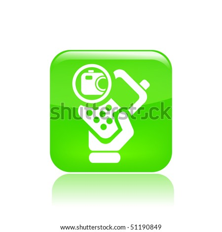 Vector illustration of icon isolated in a modern style, depicting a hand holding a mobile phone with the photo symbol