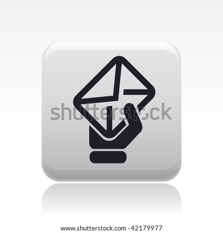 Vector illustration of icon isolated in a modern style, depicting a hand shows a mail