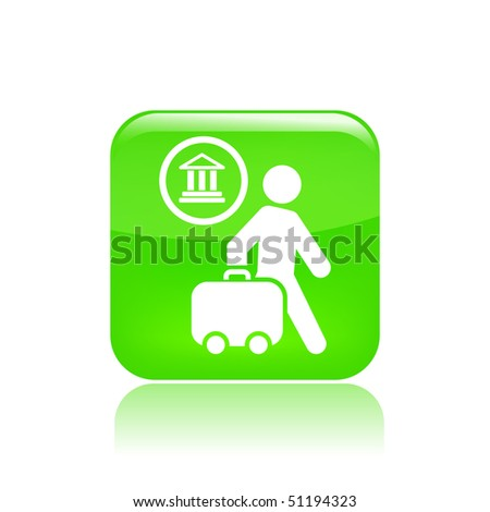 Vector illustration of icon isolated in a modern style, depicting a tourists walking with suitcase - stock vector