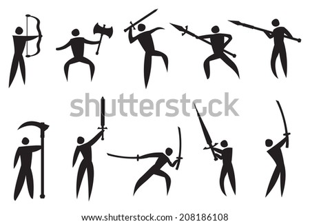 Vector illustration of icon man performing martial arts with martial arts weapons - stock vector